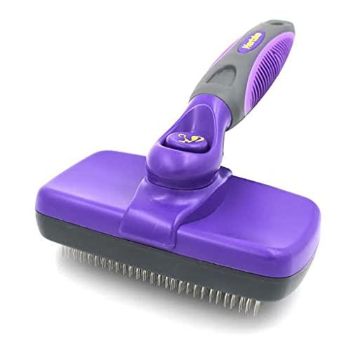 Purple cat grooming brush with thin, wiry bristles