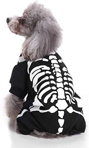dog wearing Wizland Pet Halloween skeleton-print shirt