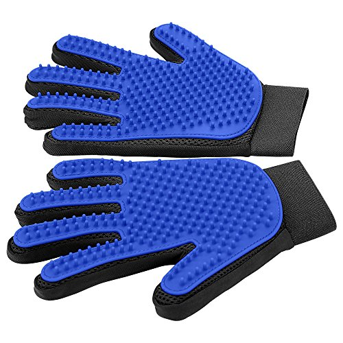 Blue grooming gloves with short, rubbery bristles