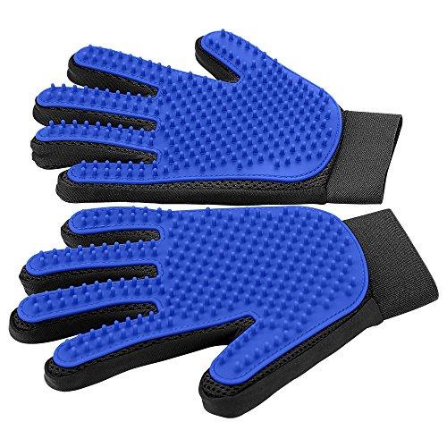 Blue Delomo grooming gloves for cat brushing