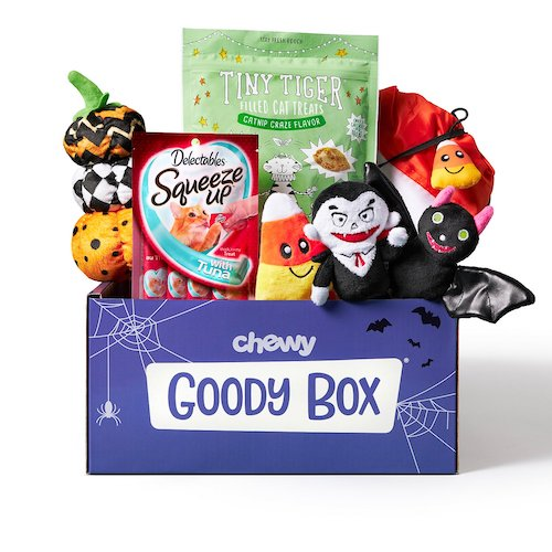 Goody Box from Chewy with cat Halloween toys