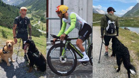 Andrea Pusateri hiking with his dogs and cycling on a road bike