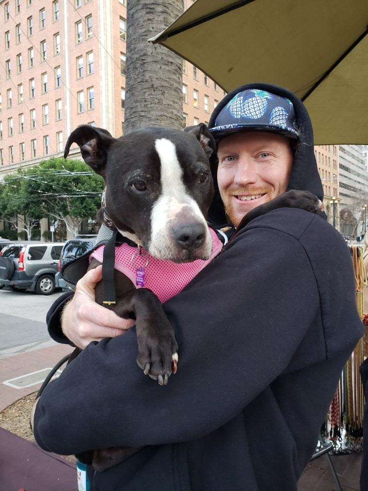 Ryan Dempsey and his dog, Oona.