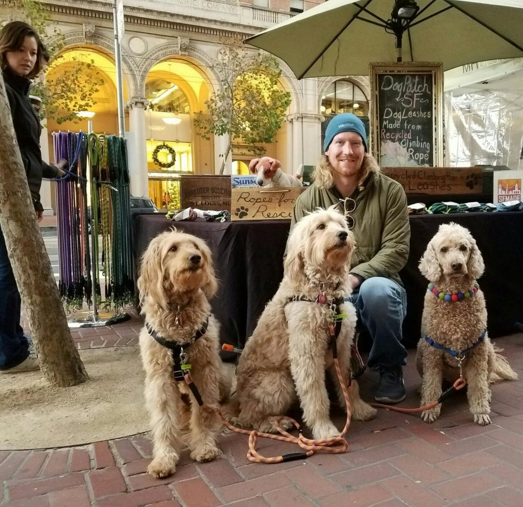 Dogs visit the Dog Patch SF booth