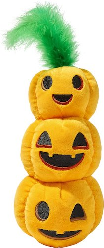 Tower of pumpkin plush toys with feathered green top