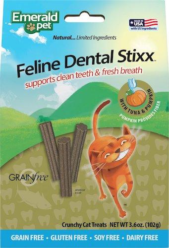 Bag of Emerald Pet feline dental stixx with pumpkin