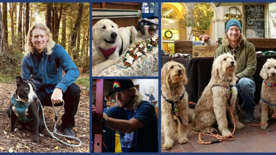 Ryan Dempsey with his repurposed climbing rope leashes and some of the rescue dogs who benefit from them.
