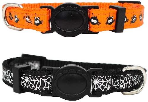 Halloween spider cat collars in black and orange
