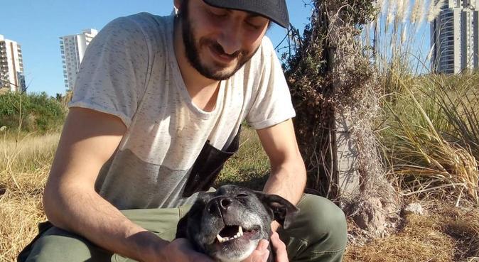 Perro libre y feliz, canguro en Cullera, Spagna
