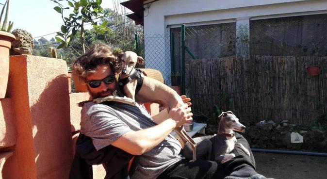 Amante dels gossos. Visc amb 2 llebrers i 1 podenc, canguro en Molins de Rey, España